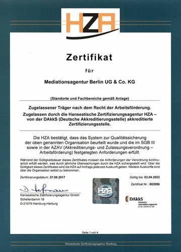 HZA Zertifikat